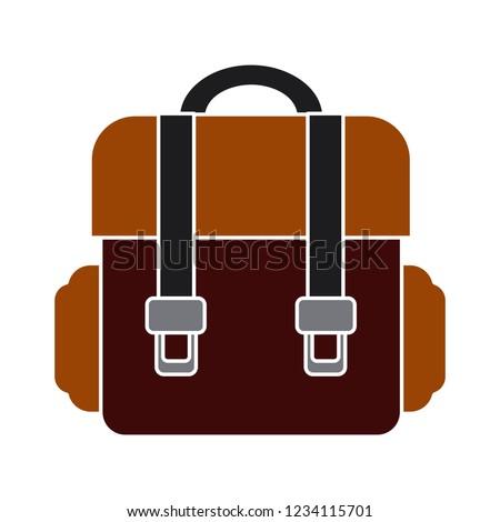 school bag isolated vector - tourism travel backpack sign symbol . briefcase illustration sign