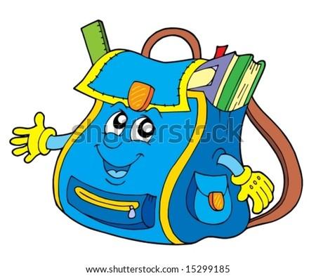 stock vector : School bag on white background - vector illustration.