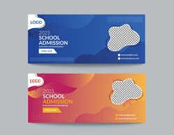 school banner design or school admission Promotion banner template and school social media covered web banner template design