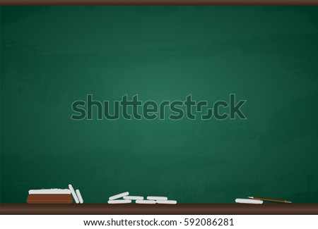 school blackboard and chalk and pencil