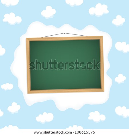 School blackboard in cloudy sky. Vector eps10 illustration