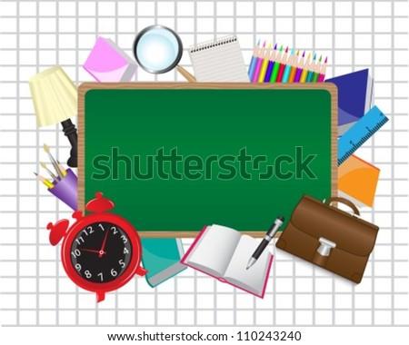 school board in an environment of school supplies