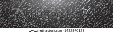 School board with formulas.Chemical formulas vector .Scientific lettering background .
