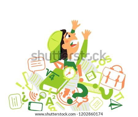 School boy overloaded by homework. Information stress. Flat vector illustration