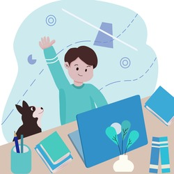 school boy raising hand during virtual classes. online education concept. distanced learning