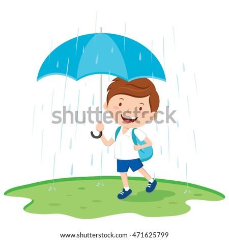School boy with umbrella in the rain. Vector illustration of a boy holding umbrella in the rainy day.