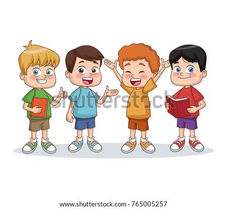 School boys cartoon