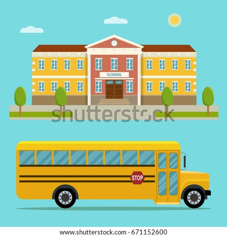 School building and  bus isolated. Flat style vector illustration