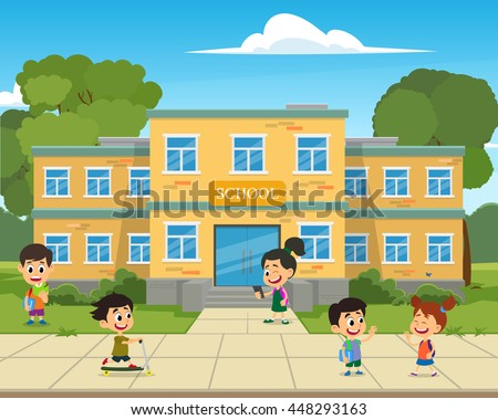 school building and children in the front yard of the school. vector illustration.