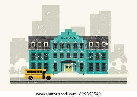 school building and school...