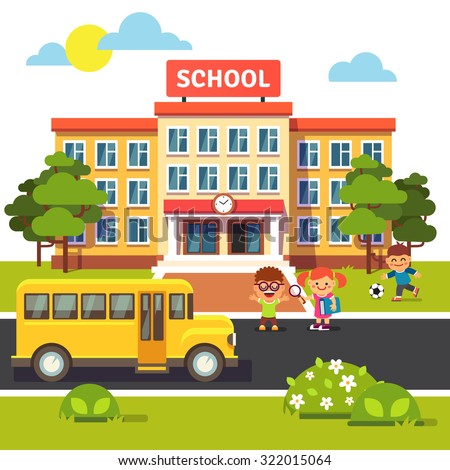 School building, bus and front yard with students children. Flat style vector illustration isolated on white background.
