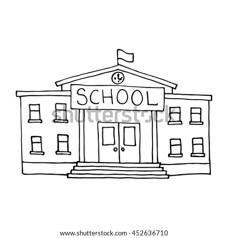 School building doodle. Outlined on white background.
