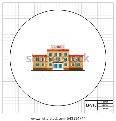 School building flat icon
