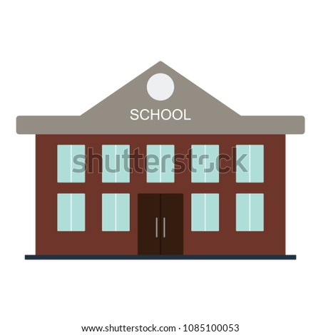 School building icon. Flat color design. Vector illustration.
