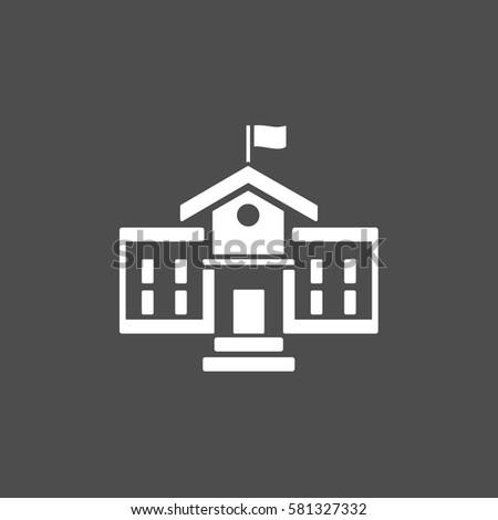 School building icon on a dark background