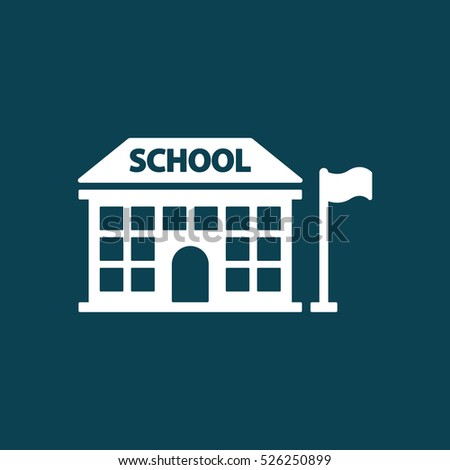 school building icon on blue background