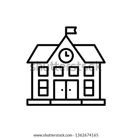 School Building Icon Vector Illustration in Line Style for Any Purpose