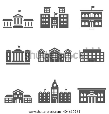 School building icons. Architecture house, construction, urban exterior. Vector illustration