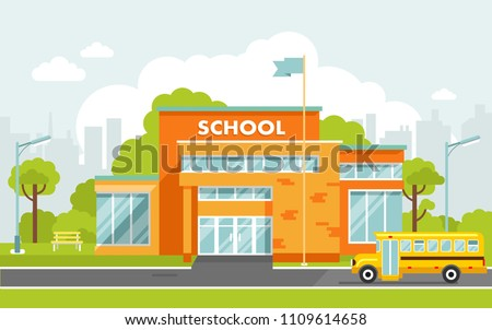 School building in flat style. Modern school, college building on city street background, with bus and front yard.