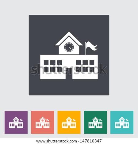 School building. Single flat icon. Vector illustration.