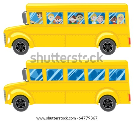 School Bus: A cartoon school bus in 2 versions.  No transparency and gradients used. - stock vector