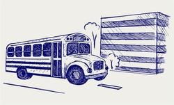 School bus. Doodle style