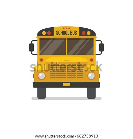 School bus front view flat illustration. Education icon isolated on white background
