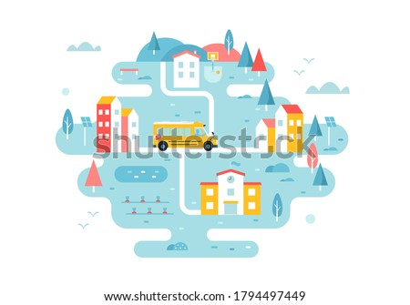School Bus Going through Town Streets. Remote Area Transport Service Scheme. Illustrated Map Vector Design Foto stock ©