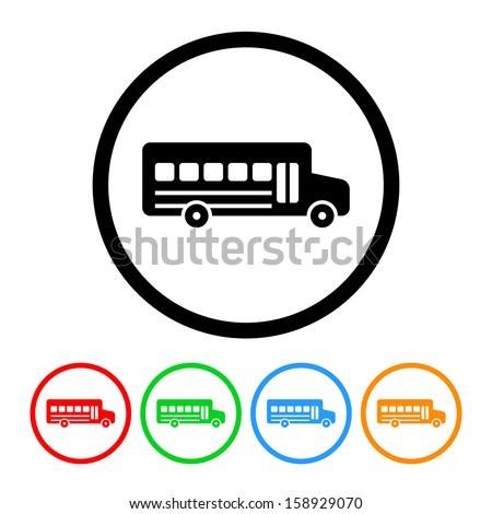 School Bus Icon with Color Variations
