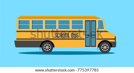 School Bus, Illustration of school kids riding yellow schoolbus transportation education