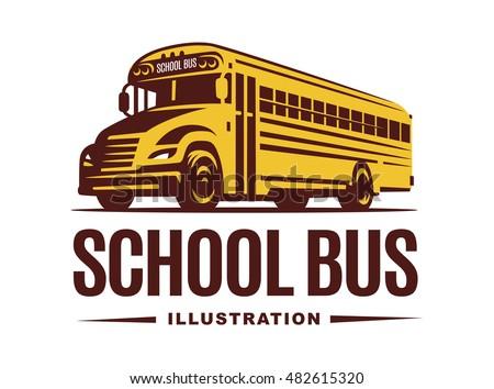 School bus illustration on light background, emblem