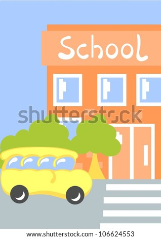 school bus in front of school building