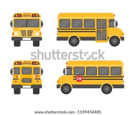 school bus isolated on white background, flat design icon back to school concept