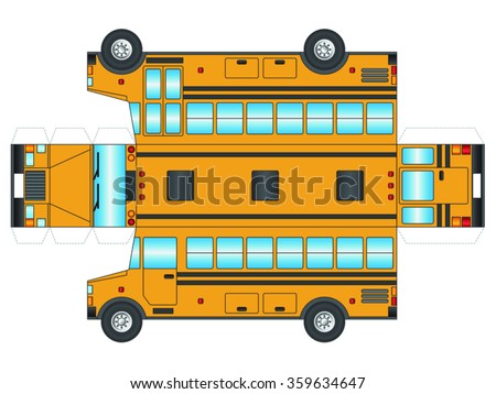 School bus outline to cut out and glue into a 3D model - stock vector