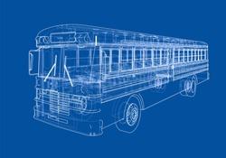 School bus outline vector. Vector EPS10 format, rendering of 3d