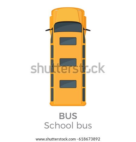School bus top view icon. Classic yellow bus roof view with text flat vector isolated on white background