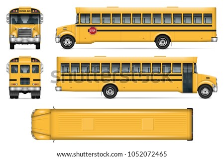 School bus vector mock-up. Isolated template of city transport on white. Vehicle branding mockup. Side, front, back, top view. All elements in the groups on separate layers. Easy to edit and recolor.