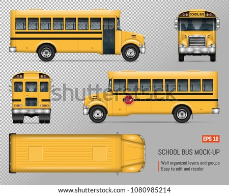 School bus vector mock-up. Isolated template of yellow city autobus on transparent background. Vehicle branding mockup, view from side, front, back and top.