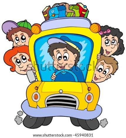School bus with children vector illustration stock vector