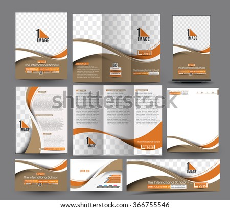 School Business Stationery Set Template. #366755546