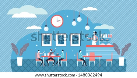 School cafe vector illustration. Flat tiny pupil dinner food person concept. Classical canteen with cook, waiter and children. Kitchen inside education institution for healthy dining service provision