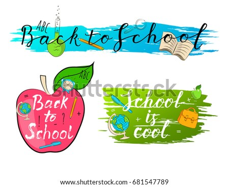 School calligraphic lettering vector illustration for print design, banner template, flyer or card.