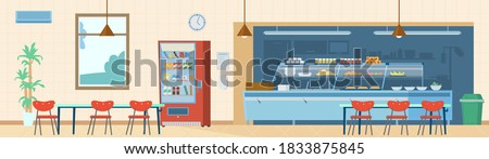 School Canteen Interior Horizontal Background. Kitchen, Vending Machine, Trash Can, Tables With Chairs, Menu, Hand Sanitizer. Flat Vector Illustration. Photo stock ©