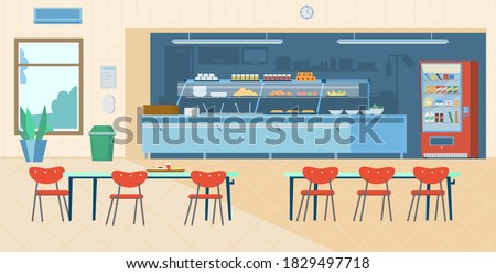 School Canteen Interior. Kitchen, Vending Machine, Trash Can, Tables With Chairs, Menu, Hand Sanitizer. Flat Vector Illustration. Photo stock ©