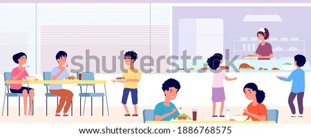 School canteen. Kids lunch, eating cafeteria room with friends. Students take food drink in cafe. Public college dining hall vector concept
