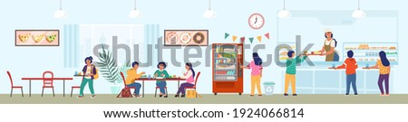 School canteen with staff and children having lunch, flat vector illustration. School cafeteria, buffet, cafe interior with furniture, food vending machine and students having lunch.