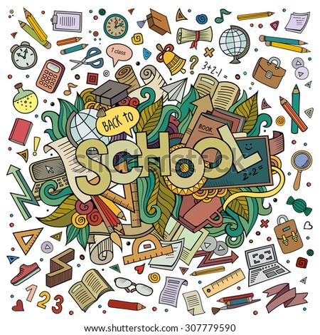 school cartoon hand lettering