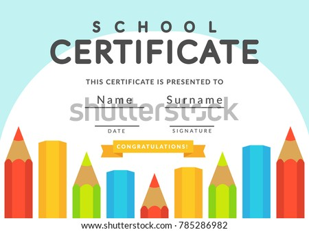 school certificate template kids kindergarten students diploma concept template layout space background