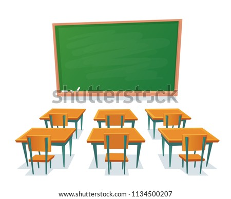 stock-vector-school-chalkboard-and-desks-empty-blackboard-elementary-classroom-wooden-desk-table-and-chair