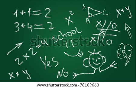 School chalkboard. Hand-Drawn vector illustration